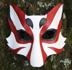 Kabuki Kitsune Fox Leather Mask Made to by SilverCicadaDesigns