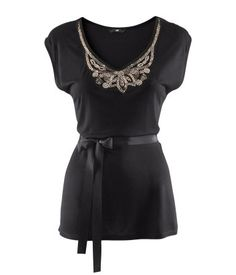 Fitted top in slightly glossy jersey with beaded embroidery at neckline and a detachable grosgrain tie at waist.