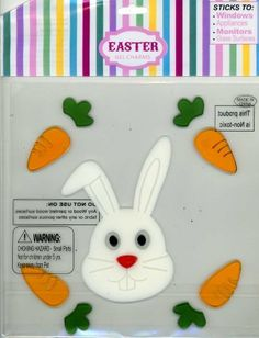 """Easter Bunny & Carrots Gel Window Clings Charms Stick-ons by Nantucket Home. $3.49. Bunny measures 3"""" x 5"""". Sticks to windows, appliances, monitors and glass surfaces. Washable Gel Clings. Clings are on an 8"""" x 8"""" sheet. Reusable, washable and repositionable. Easter Bunny Gel Window Clings."""