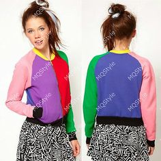 New Womens European Fashion Splicing Colorful Chic Coat Jacket W019