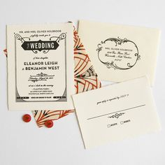 Gatsby wedding invitations. Love them!! hellotenfold.etsy.com