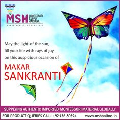 Happy This joyous festival marks the end of the so we decided to celebrate with the brightest colours and strongest winds! May the wind always be behind your kite! Makar Sankranti, Strong Wind, Montessori Materials, Winter Solstice, First They Came, Kite, Colours, Happy, Dragons
