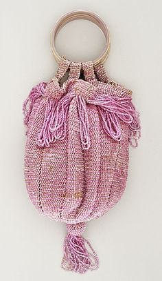 France  Woman's Reticule, circa 1918  Costume/clothing accessory/purse, Glass beads, silk, Length: 11 1/2 in. (29.21 cm)