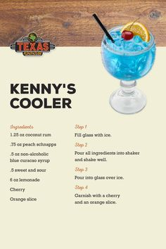 Kenny's Cooler Get tropical with the cocktail inspired by Kenny Chesney's island lifestyle! Liquor Drinks, Cocktail Drinks, Cocktail Recipes, Alcoholic Beverages, Alcoholic Shots, Tropical Alcoholic Drinks, Fruity Mixed Drinks, Fruity Alcohol Drinks, Bourbon Drinks