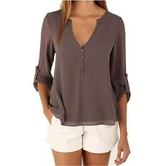Women's+Casual+Simple+Fall+Blouse,Solid+V+Neck+Long+Sleeve+Blue+/+Red+/+White+/+Black+/+Brown+Cotton+Medium+–+USD+$+13.99
