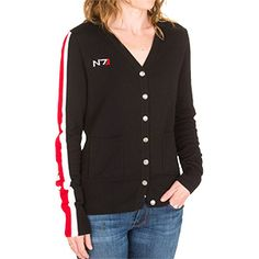 Mass Effect N7 Cardigan Sweater features an N7 logo embroidered patch on the right chest, armor Stripe panels sewn onto the right sleeve, custom N7 metal buttons, and two pockets in front.