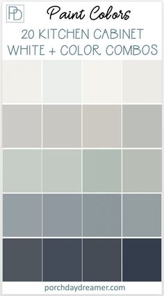 Two-toned painted cabinets in the kitchen are a hot trend that is here to stay! Here are some timeless paint color combos to consider for your kitchen to break up an all white kitchen. White and colored kitchen cabinets. #cabinetpaintcolors #paintcolorideas #kitchenpaintcolor #cabinetcolors #coloredcabinets #twotonedcabinets #porchdaydreamer #paintcombosa