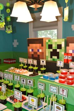 Andrew chose Minecraft for the theme of his party this year. I had a vague idea of what the game was because he usually plays with his br. Diy Minecraft Birthday Party, Minecraft Party Games, Minecraft Party Decorations, Birthday Party Tables, Cool Minecraft, Minecraft Crafts, 6th Birthday Parties, Birthday Party Decorations, 8th Birthday