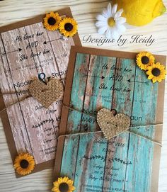 Rustic invitations printed on wood paper and layer with brown Kraft card stock. The invitation is finished with paper sunflower and a burlap heart attached with twine. Available with white wood paper or turquoise wood paper. Card is approximately 5.5x8.5 and includes a matching Kraft envelope. This invitation can be completely personalized to compliment your event. Message me with any questions you may have. Response cards, saved the date cards, and thank you cards are available for an…