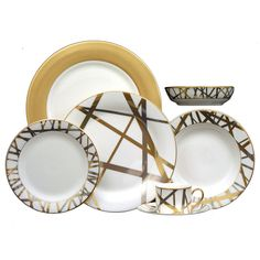 """Brides.com: Kelly Wearstler's 14 Registry Essentials. Modern China Set  """"My china for Pickard is painterly and chic,"""" says Wearstler. """"It's designed to mix and match for an eclectic unexpected table setting.""""  Gold and white china sets, $82-195, Kelly Wearstler for Pickard China available at TableArt  See more formal dinnerware to add to your wedding registry."""
