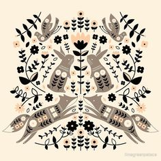 'Woodland Folklore ' Art Print by limegreenpalace Scandinavian Pattern, Scandinavian Folk Art, Scandi Art, Nordic Art, Pattern Art, Print Patterns, Art Inspo, Line Art, Illustration Art