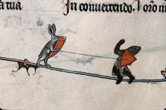 Rabbit with a lance and shield slaying a knight. Summer volume of the Breviary of Renaud/Marguerite de Bar, Metz ca. 1302-1305 (Verdun, Bibliothèque municipale, ms. 107, fol. 141v). Discarding images.