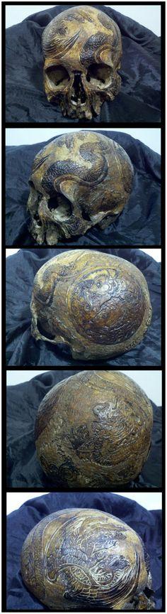 Carved Skull Bone Celtic Knots Asian by wwwRealHumanSkullcom, $49.95