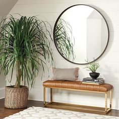Buy the new upholstered furniture pieces you need for that ultimate designer look. Get the Alexa Upholstered Bench at Ballard Designs for exactly what you want! Entryway Mirror, Entryway Decor, Entryway Ideas, Modern Entryway, Mirror Mirror, Entryway Bench Modern, Sunburst Mirror, Mirror Bathroom, Bench Decor