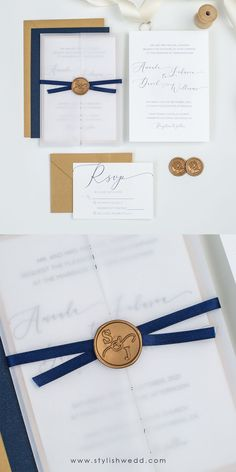Featuring luxury transluscent vellum wrap and contrasting navy blue ribbon, this wedding invitation suite is so simple yet elegant. Affordable Wedding Invitations, Wedding Invitation Suite, Elegant Wedding Invitations, Wax Seals, Blue Ribbon, Wedding Designs, Navy Blue, Luxury, Simple