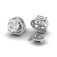 Diamond Earring DGLA Certified Round Brilliant Cut Claw Setting Studs Earring