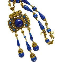 Exquisite Czechoslovakia Necklace *Lapis Glass *Vintage