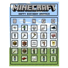 Minecraft Bingo from Birthdays, Bingo, Invites, & More! | Square Market  For all those Minecraft lovers out there - DONT MISS THIS!!!  This is a MUST HAVE at any Minecraft party!