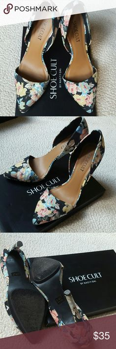 Nasty Gal Floral Pumps Black, floral pumps from Shoe Cult by Nasty Gal. Worn only a handful of times as seen in photo #3. Great to accessorize an all black outfit or a simple black dress or shorts. It comes with original box. Nasty Gal Shoes Heels