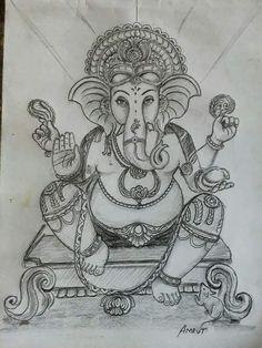 Ganesha Sketch, Ganesha Drawing, Lord Ganesha Paintings, Ganesha Art, Sri Ganesh, Art Drawings For Kids, Art Drawings Sketches Simple, Tanjore Painting, Easy Pencil Drawings