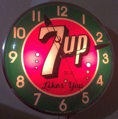 "7-Up Antique Clock (Old 1950 Vintage Soda Pop Beverage 7Up Drink Advertising Light Round Pam Sign, ""Likes You"")"