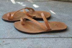 Natural brown leather Greek sandals. Handmaided by by Manoetmente