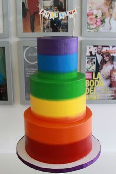 """Rainbow!!! Bebe:!!! Colorful rainbow cake for a special """"Over The Rainbow"""" party!!!"""