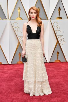 Emma Roberts in vintage Armani Privé and Atelier Swarovski fine jewelry at the Oscars 2017
