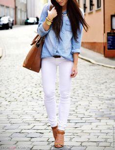 Blue denim jacket, white jeans.
