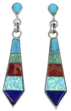 Multicolor Inlay Earrings   Post Earrings   Sterling Silver Jewelry   Opal Inlay http://www.silvertribe.com