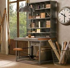 Rustic Home Office Ideas With Nice Wooden Desk With Rack And Old Fashioned Clock Home Office Desk Home Office Colors Small Home Office Ideas Great Decorating Ideas for Home Office to Set Crisp Style