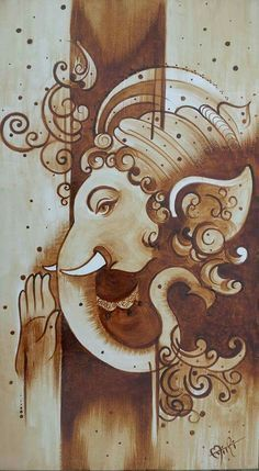 Kerala Mural Painting, Indian Art Paintings, Worli Painting, Oil Paintings, Lord Ganesha Paintings, Krishna Painting, Arte Ganesha, Coffee Painting Canvas, Coffee Artwork