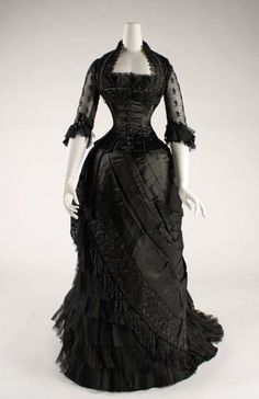 "BLACK!  Something I would have gone for THEN and NOW.... ""Black Evening Gown with illusion 3/4 sleeves from the 1880s."""