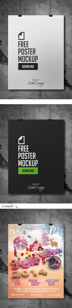 Free Poster Mockup by ZokiDesign, via Behance
