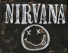 Nirvana art, wood sign, Grunge band artwork, alternative metal, music logo art, custom wooden wall art