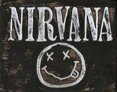 Nirvana art, wood sign, Grunge band artwork, alternative metal, music logo art, custom wooden wall art