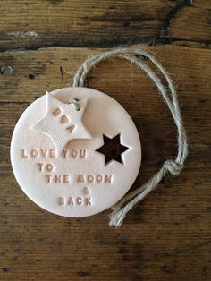 Love you to the moon: blush clay with personalised by TwoAndBoo