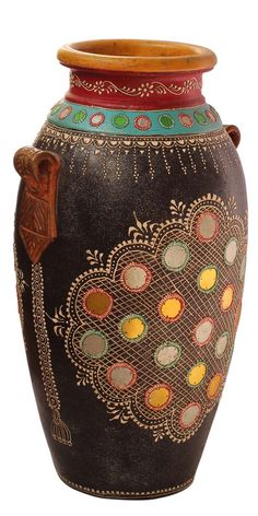 Wholesale Terracotta Flower Vase in Bulk - Handmade Black, Red, Orange Colored Flower Vase Decorated with Mirrors & Cone-Painting Art in Traditional-Look Motifs & Flowers in Bright Colors - Art Deco Vase from Suppliers in India - Home Decor Bright Colors Art, Vase Crafts, Bottle Crafts, Clay Crafts, Vase Design, Big Vases, Paper Vase, Home Decor Vases, Round Vase