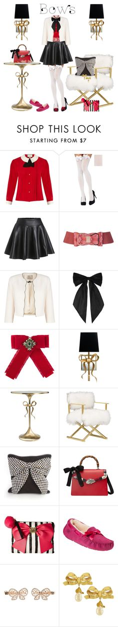 """""""Put A Bow On It!"""" by bevmardesigns ❤ liked on Polyvore featuring Gucci, Jacques Vert, Oscar de la Renta, Kate Spade, MacKenzie-Childs, Betsey Johnson, UGG, Monsoon, Vintage and bows"""