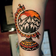 I just like everything inside the circle. Mountains are the best. skinsouvenirs: tattoo by @morstattoo