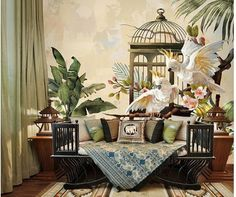 Oil Painting Two Vivid Parrots Wallpaper Wall Mural, Southeast Asia Banana Leaves and Flowers Wall Mural Wall Decor Parrot Wallpaper, Wallpaper Paste, Custom Wallpaper, Wall Wallpaper, Room Wall Painting, Stencil Painting On Walls, Mural Art, Wall Murals, Open Wall