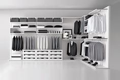 Create your dream closet with sophisticated stone and wood inserts, custom storage and motion sensor lighting. Want to learn more? Visit www.milanosmartliving.com for more options or visit our Show Room at New York Design Center