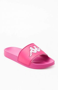 Slip on some fresh Kappa style just in time for spring. The Authentic Adam 2 Slide Sandals feature a comfortable footbed and a thick single-strap design with a bold brand logo on the front. Nike Air Shoes, Nike Tennis Shoes, Golf Shoes, Sport Sandals, Slide Sandals, Strap Sandals, Women Sandals, Shoes Women, Shorts Outfits Women
