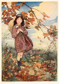 A Girl Walking In Fall Leaves (Jessie Willcox Smith) 1908