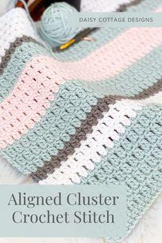 Crochet Stitches For Blankets, Easy Crochet Blanket, Crochet Stitches Patterns, Crochet Designs, Crochet Hooks, Knitting Patterns, Crochet Afghans, Baby Afghan Patterns, Crocheted Baby Blankets