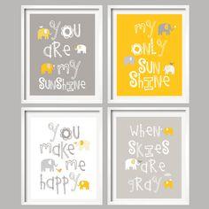 You Are My Sunshine - Kids Wall Art Mustard Yellow and Gray Nursery Decor Prints - Elephant and bird -  8x10 - baby shower gift. $59.95, via Etsy.