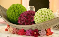 flower pomanders in a palm spat