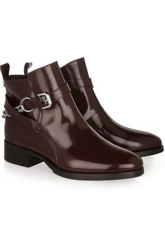 McQ Alexander McQueen Paddock chain-detailed glossed-leather ankle boots