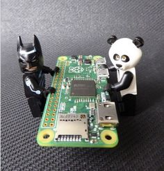 The Raspberry Pi Zero, with Lego Batman and Panda Guy for scale.