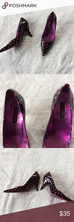Betsey Johnson Patent Leather Pointy Toe Pumps Sexy little Pointy Toe Pumps by Betsey Johnson.  Black and Pink Polka dot Patent Leather. These are gently used, but are in fantastic condition. No scuffs on the shoes and has a nice mirror-like shine to them. Betsey Johnson Shoes Heels